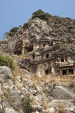 Rock-cut tombs in Myra, Demre, Turkey, Scene 33. A series of photos. Rock-cut tombs in Myra, Lycian tombs, near the city of Demre in modern Turkey Stock Photos