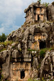 Rock cut tombs of Myra and sky Stock Photography