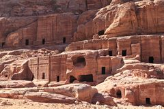 Rock Cut Tombs at Petra Stock Photos
