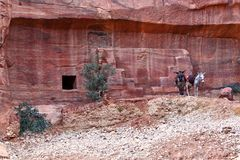 Rock Cut Tombs at Petra Royalty Free Stock Photos