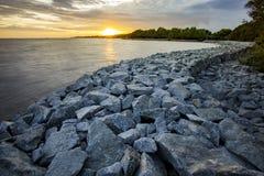 Rock dam protect coastal erosion in bangpoo thailand Royalty Free Stock Photos