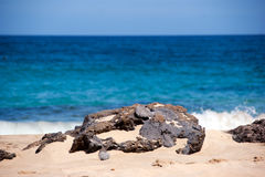 Rock detail with ocean in the backgroud. Playa mujeres, lanzarote, canary islands Stock Photography