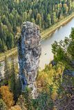 Rock `The Devil`s Finger`. Russia. The Urals. The Perm region. River Usva. Rock `The Devil`s Finger Royalty Free Stock Photo