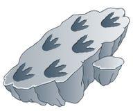 Rock with dinosaur footprints royalty free illustration