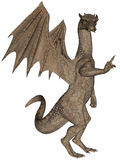 Rock dragon. 3D rendered flying rock dragon isolated on white background Royalty Free Stock Image