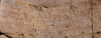 Rock Drawings in Valcamonica - panorama Royalty Free Stock Photography
