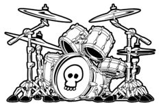 Rock Drum Set Cartoon Vector Illustration. Hard rock heavy metal band drum kit cartoon vector illustration, with skull, in sharp black detail stock illustration