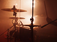 Rock drum set  with cymbals Royalty Free Stock Images