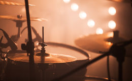 Rock drum set  with cymbals Royalty Free Stock Image