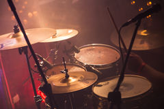 Rock drum set, live music background Royalty Free Stock Photography