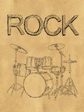 Rock Drum Sketch on Paper. Digital Drawing Royalty Free Stock Photography