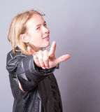 Rock On Dude - Teenage rocker Stock Image