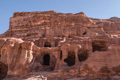 Rock Dwelling Complex at Petra Stock Photo