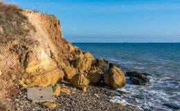 Rock on the edge of the Black Sea. Warm late autumn day on the seashore near the village of Fontanka, Odessa region, Ukraine stock photos