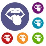 Rock emblem icons set. In flat circle red, blue and green color for web Stock Photo
