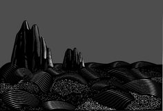 Rock. Engraving sea rocks, black and white, storm in the sea, vector royalty free illustration