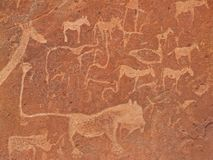 Rock engravings, Twyfelfontein, Namibia stock photography