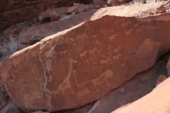 Rock engravings at Twyfelfontein Royalty Free Stock Images