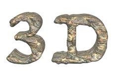 /rock för sten 3D typografi Stock Illustrationer