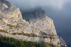 Rock face in Dolomites, Alps, Italy Royalty Free Stock Photography