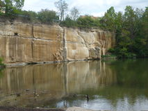 The rock face and small lake on Košutka in Pilsen Stock Photography
