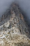 Rock face in Tre Cime National Park, Dolomites, Italy Stock Image