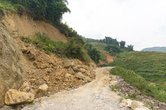 Rock fall into below of Mountainside Royalty Free Stock Photos