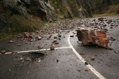 Rock fall in Cheddar Gorge. Fallen rocks in Cheddar Gorge in Somerset Royalty Free Stock Photo