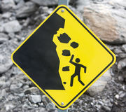 Rock Fall Danger Sign Stock Image