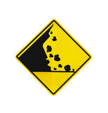 Rock falling warning sign isolated. On white with clipping path Stock Photo