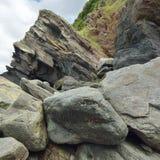 Rock Falls & Cliff, Woody Bay Royalty Free Stock Photo