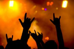 Rock fans showing horn sign Royalty Free Stock Image