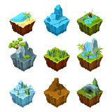 Rock fantasy islands for computer games. Isometric illustrations in cartoon style. 3d panel for game interface rock and sea Royalty Free Stock Image