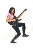 Rock female with guitar Royalty Free Stock Photo