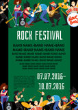 Rock fest banner with musicians. Rock fest banner with music group. Music party invitation. Concept of artistic people vector illustration. Singer, guitarist Stock Image