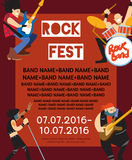 Rock fest banner with musicians. Rock fest banner with music group. Music party invitation. Concept of artistic people vector illustration. Singer, guitarist Royalty Free Stock Image
