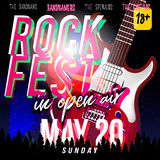Rock fest in open air! Rock festival flyer, banner or poster. With electric guitar in modern style, night sky with stars on background Stock Image