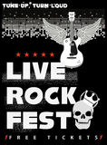 Rock Fest Poster. In black and red colors Royalty Free Stock Images