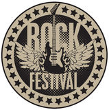 Rock festival. Round banner with the guitar for a rock festival Royalty Free Stock Photos