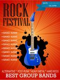 Rock festival banner design template with guitar. Illustration Royalty Free Stock Images