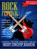 Rock festival banner design template with guitar. Illustration Stock Image