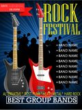 Rock festival banner design template with guitar. Illustration Royalty Free Stock Image