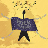 Rock festival banner with guitar and flag. Grunge style Stock Image