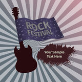 Rock festival banner with guitar and flag. Grunge style Royalty Free Stock Image