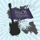 Rock festival banner with guitar and flag, grunge style. Vector illustration Stock Photos