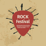 Rock festival banner with guitars and plectrum Stock Photo