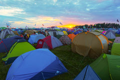 Rock festival. BIG ZAVIDOVO, RUSSIA - JULY 4: Campsite on open-air rock festival Nashestvie on July 4, 2014 in Big Zavidovo, Russia. Nashestvie is the biggest Stock Photos