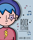 Rock festival concert music event. Vector illustration Royalty Free Stock Images