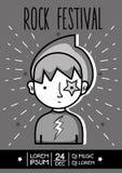 Rock festival concert music event. Vector illustration Stock Images