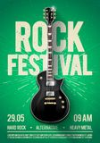 Vector illustration rock festival concert party flyer or posterdesign template with guitar, place for text and cool effects in the. Rock festival concert party Royalty Free Stock Photo